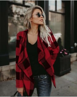 Plaid Lapel Style Autumn/ Winter High Fashion Women Top - Red
