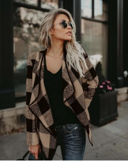 Plaid Lapel Style Autumn/ Winter High Fashion Women Top - Khaki