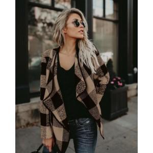 Plaid Lapel Style Autumn/ Winter High Fashion Women Top - Khaki
