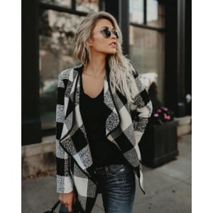 Plaid Lapel Style Autumn/ Winter High Fashion Women Top - Black and White