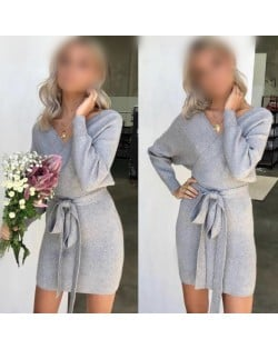 Knitted Texture V Neck Fashion Long Sleeves One-piece Autumn/ Winter Fashion Short Women Dress - Gray