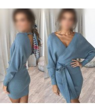Knitted Texture V Neck Fashion Long Sleeves One-piece Autumn/ Winter Fashion Short Women Dress - Blue