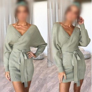 Knitted Texture V Neck Fashion Long Sleeves One-piece Autumn/ Winter Fashion Short Women Dress - Green