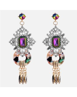 Vintage Royal Bold Fashion Women Costume Earrings - Multicolor