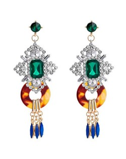 Vintage Royal Bold Fashion Women Costume Earrings - Green