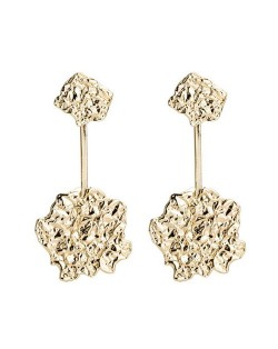 Vintage Irregular Shape Punk Fashion Alloy Earrings - Golden