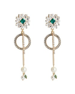 Rhinestone Flower with Pearl Beads Tassel Design Elegant Hoop Fashion Earrings