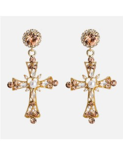 Rhinestone Embellished Dangling Cross Graceful Costume Earrings - White