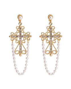 Vintage Cross with Pearl Tassel Design Elegant Fashion Earrings