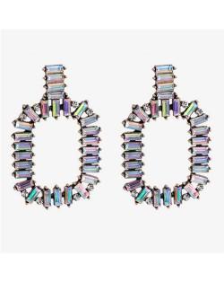 Rhinestone Embellished Hoop Shape High Fashion Women Statement Earrings - Colorful White