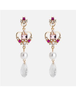 Rhinestone Inlaid Heart Tassel Fashion Earrings - Pink