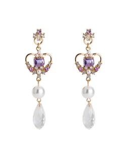 Rhinestone Inlaid Heart Tassel Fashion Earrings - Purple