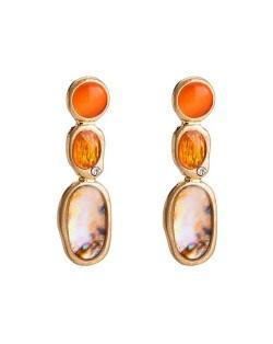 Opal and Resin Gem Embellished High Fashion Costume Earrings - Orange