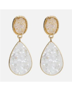 Oil-spot Glazed Waterdrop Design High Fashion Costume Earrings - White