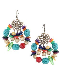 Seashell and Turquoise Beads Embellished Assorted Elements Bohemian Fashion Earrings