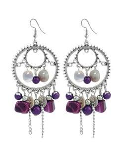 Seashell and Beads Tassel Design Dangling Hoop Women Statement Earrings - Purple