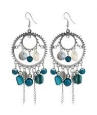 Seashell and Beads Tassel Design Dangling Hoop Women Statement Earrings - Blue