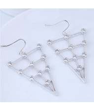 Cubic Zirconia Inverted Triangle Design Fashion Costume Earrings - Silver