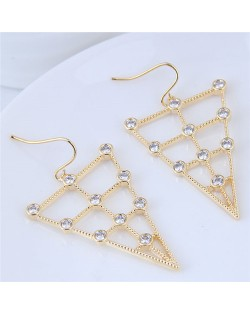 Cubic Zirconia Inverted Triangle Design Fashion Costume Earrings - Golden