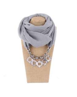 Resin Squares Pendants High Fashion Scarf Necklace - Gray