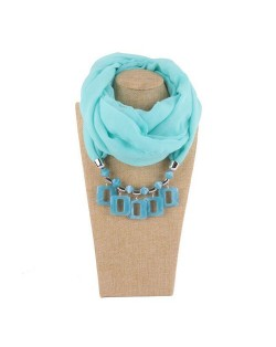 Resin Squares Pendants High Fashion Scarf Necklace - Sky Blue