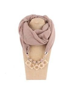 Resin Squares Pendants High Fashion Scarf Necklace - Khaki