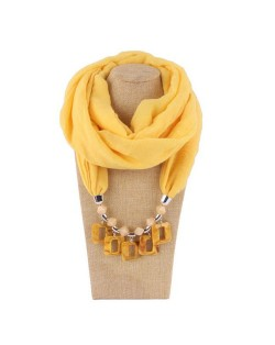 Resin Squares Pendants High Fashion Scarf Necklace - Yellow