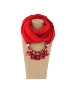 Resin Squares Pendants High Fashion Scarf Necklace - Red