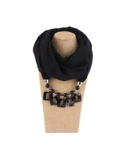 Resin Squares Pendants High Fashion Scarf Necklace - Black