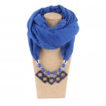 Resin Squares Pendants High Fashion Scarf Necklace - Blue