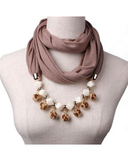 Fluffy Balls Design High Fashion Scarf Necklace - Brown