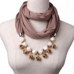 Fluffy Balls Design High Fashion Scarf Necklace - Brown