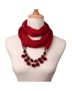 Fluffy Balls Design High Fashion Scarf Necklace - Wine Red