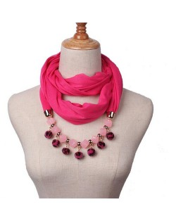 Fluffy Balls Design High Fashion Scarf Necklace - Rose