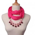 Fluffy Balls Design High Fashion Scarf Necklace - Rose