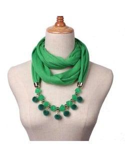 Fluffy Balls Design High Fashion Scarf Necklace - Green