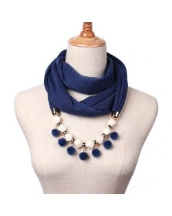 Fluffy Balls Design High Fashion Scarf Necklace - Ink Blue