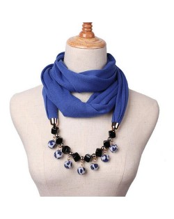 Fluffy Balls Design High Fashion Scarf Necklace - Royal Blue
