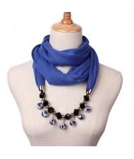 Fluffy Balls Design High Fashion Scarf Necklace - Royal Blue