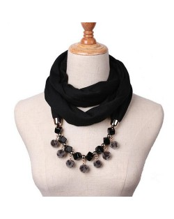 Fluffy Balls Design High Fashion Scarf Necklace - Black