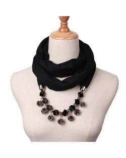 Fluffy Balls Design High Fashion Scarf Necklace - Black