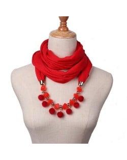 Fluffy Balls Design High Fashion Scarf Necklace - Red