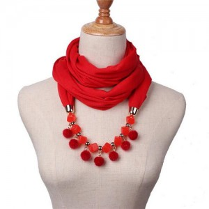 Fluffy Balls Design High Fashion Scarf Necklace - Red