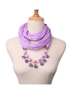 Fluffy Balls Design High Fashion Scarf Necklace - Violet