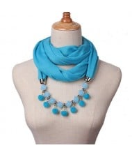 Fluffy Balls Design High Fashion Scarf Necklace - Sky Blue