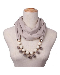 Fluffy Balls Design High Fashion Scarf Necklace - Khaki