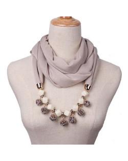 Fluffy Balls Design High Fashion Scarf Necklace - Khaki
