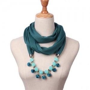 Fluffy Balls Design High Fashion Scarf Necklace - Ink Green