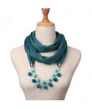 Fluffy Balls Design High Fashion Scarf Necklace - Ink Green