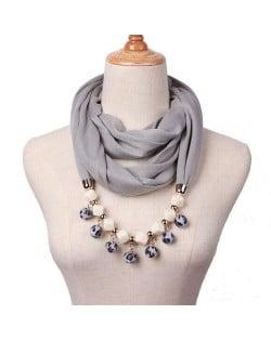 Fluffy Balls Design High Fashion Scarf Necklace - Gray